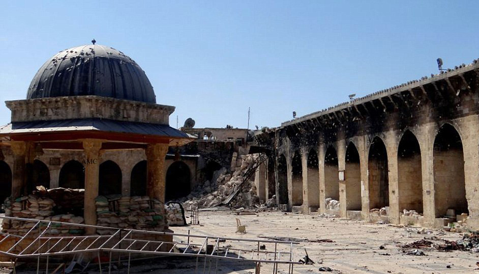 "The Proliferation of ""Cultural Genocide"" in Areas of Conflict, Umayyad Mosque, Old City of Aleppo, Syria (2013)."