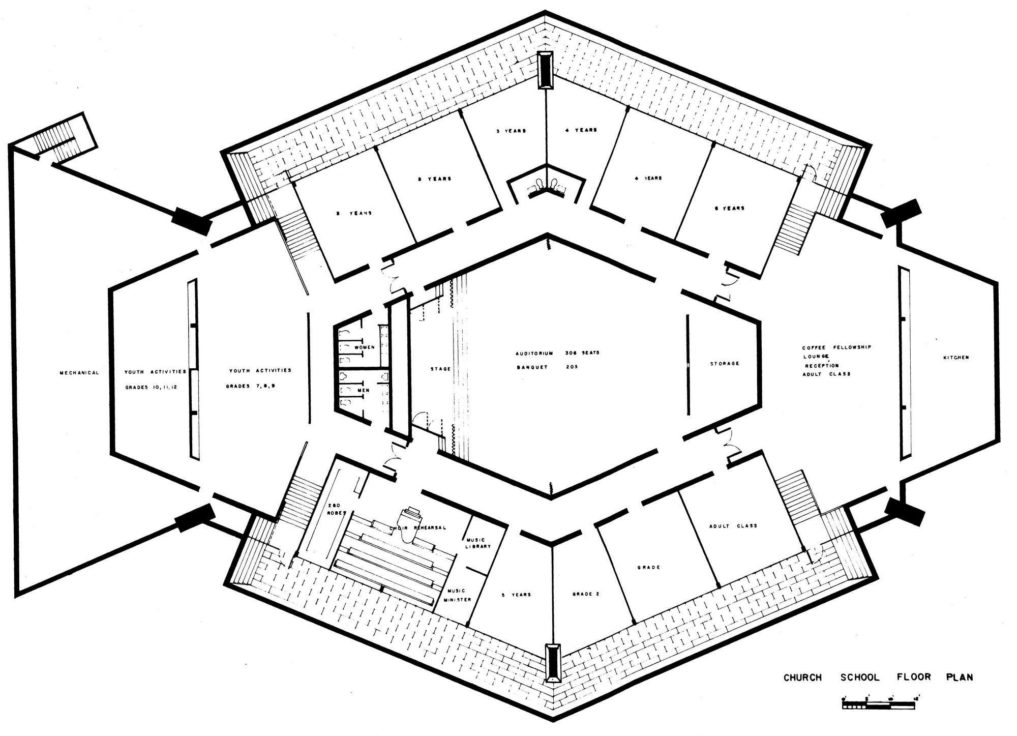 Ad classics north christian church eero saarinen for Floor plan church