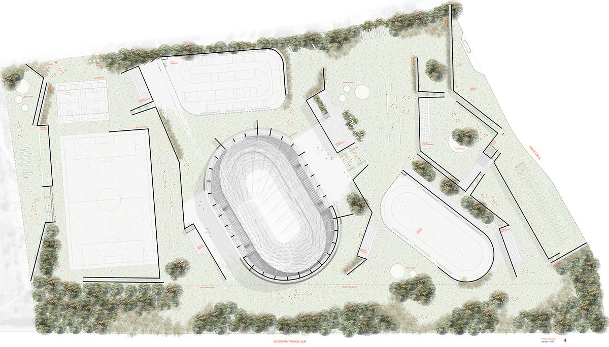"""Segundo Lugar: """"Superficies Convergentes, Parque Deportivo Ciudadano Villa Alemana"""". Image Courtesy of Comité Organizador"""
