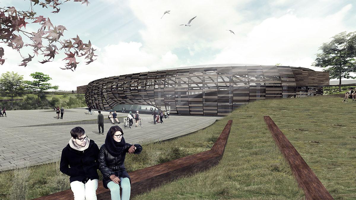 """Mención Honrosa """"Anfiteatro Deportivo: Plataformas visuales de integración comunal"""". Image Courtesy of Comité Organizador"""