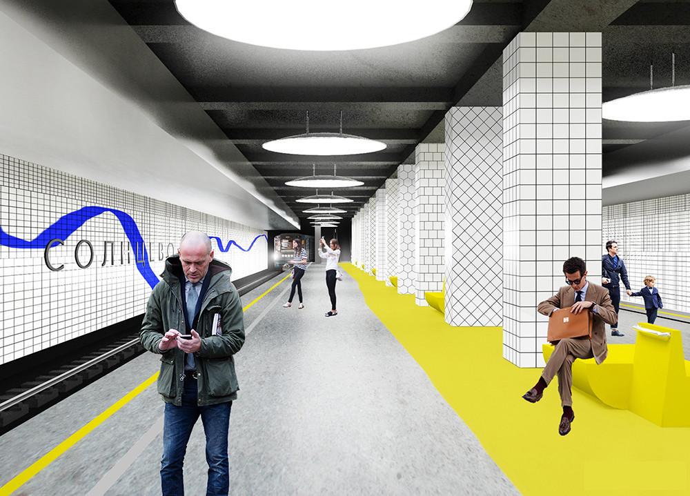 Propuesta para estación Solntsevo. Imagen © Rhizome Group