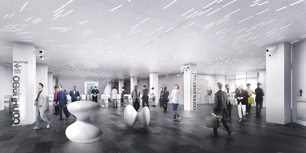 Propuesta para estación Solntsevo. Imagen © Wall