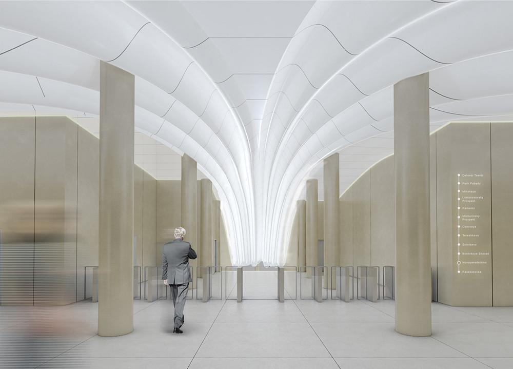 Propuesta para estación Novoperedelkino. Imagen © Gerber Architekten