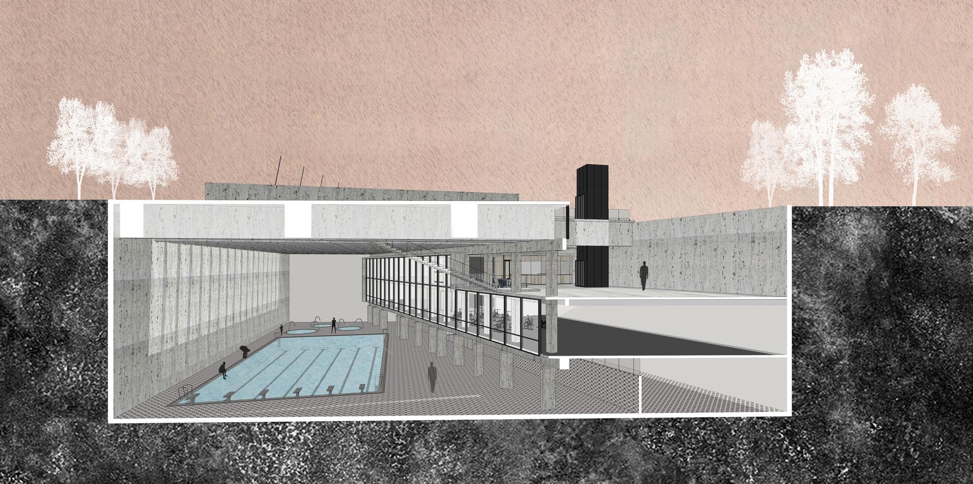 Primer Lugar en concurso de piscina municipal Juan Pablo II / Santiago, Chile, Corte fugado. Image Courtesy of Equipo Primer Lugar