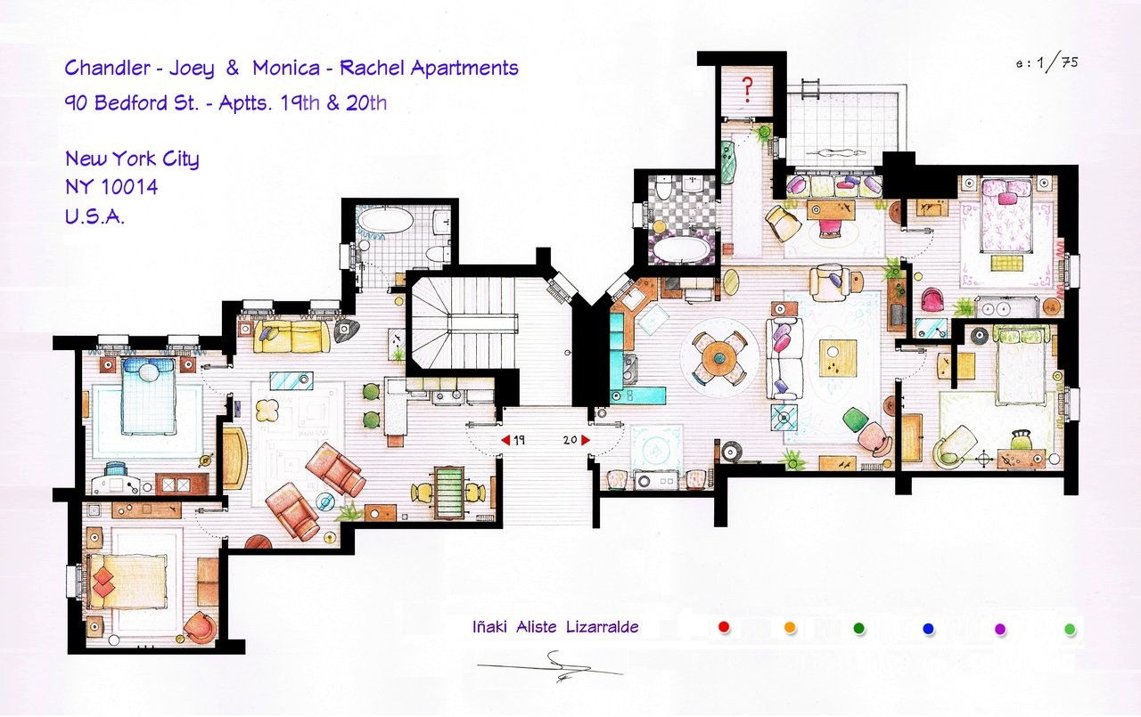 From friends to frasier 13 famous tv shows rendered in for Large apartment floor plans
