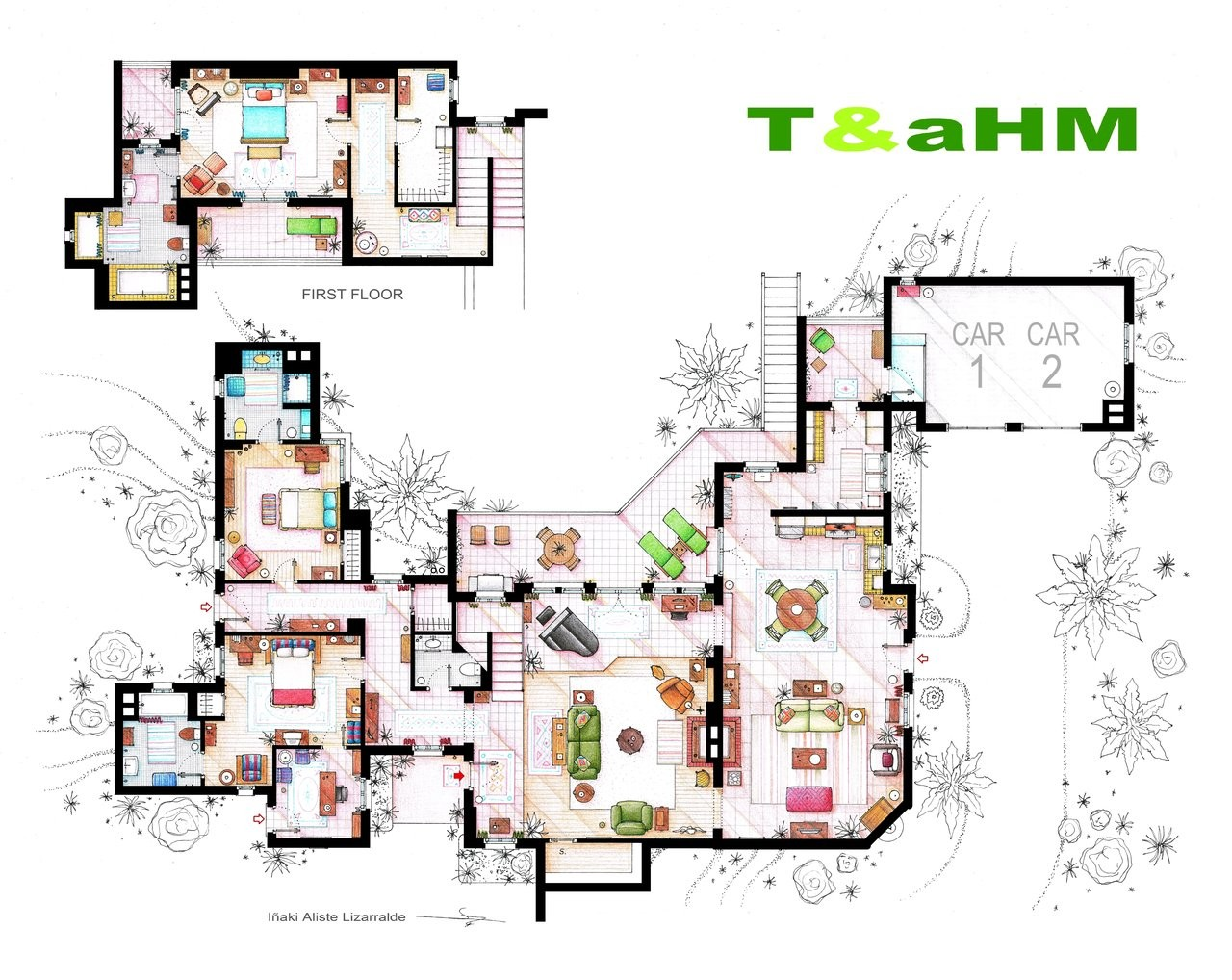 From friends to frasier 13 famous tv shows rendered in for Print house plans