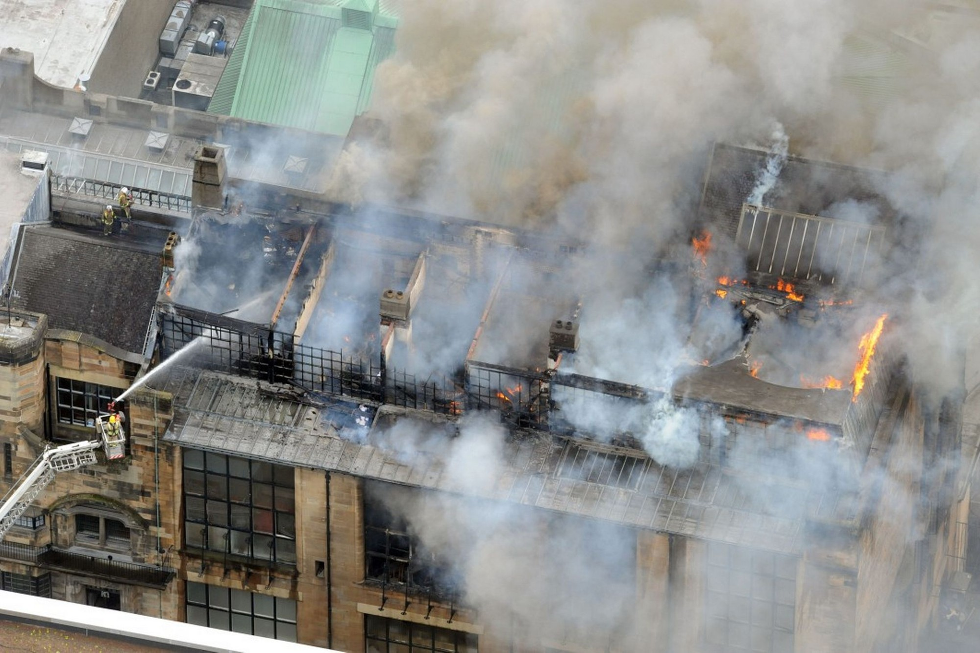 Two Symposiums Will Help Determine Glasgow School of Art's Restoration, Glasgow School of Art ablaze (unknown source)