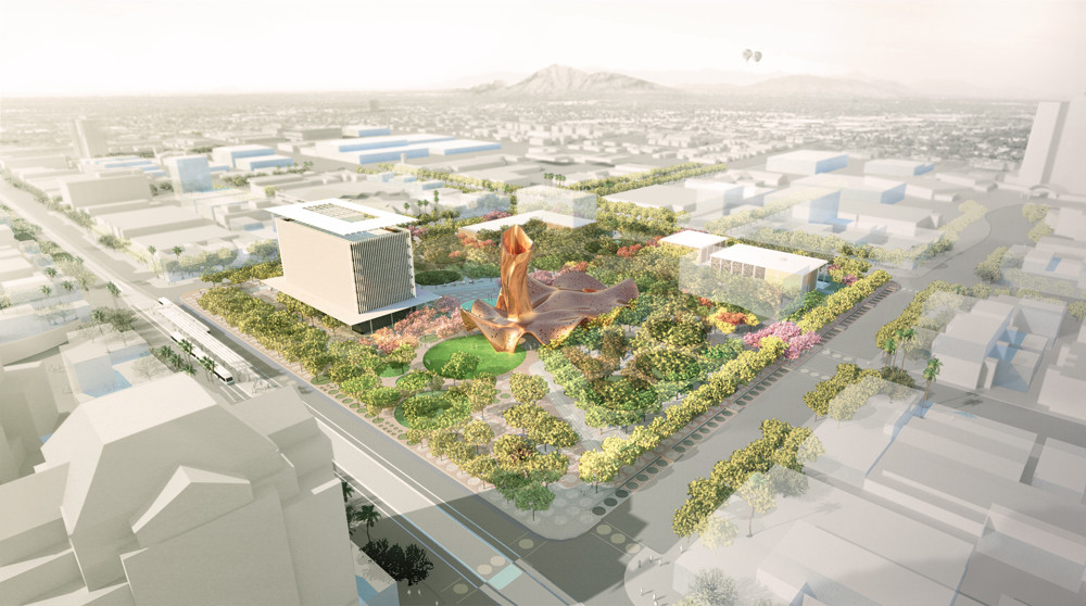 Design by Colwell Shelor + West 8 + Weddle Gilmore. Aerial Context Future Growth. Image Courtesy of West 8