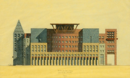 Denver Library, South Elevation, 1994, pencil and colored pencil on yellow tracing paper, 14 x 26 inches. Image Courtesy of  Michael Graves & Associates, photo: Ken Ek