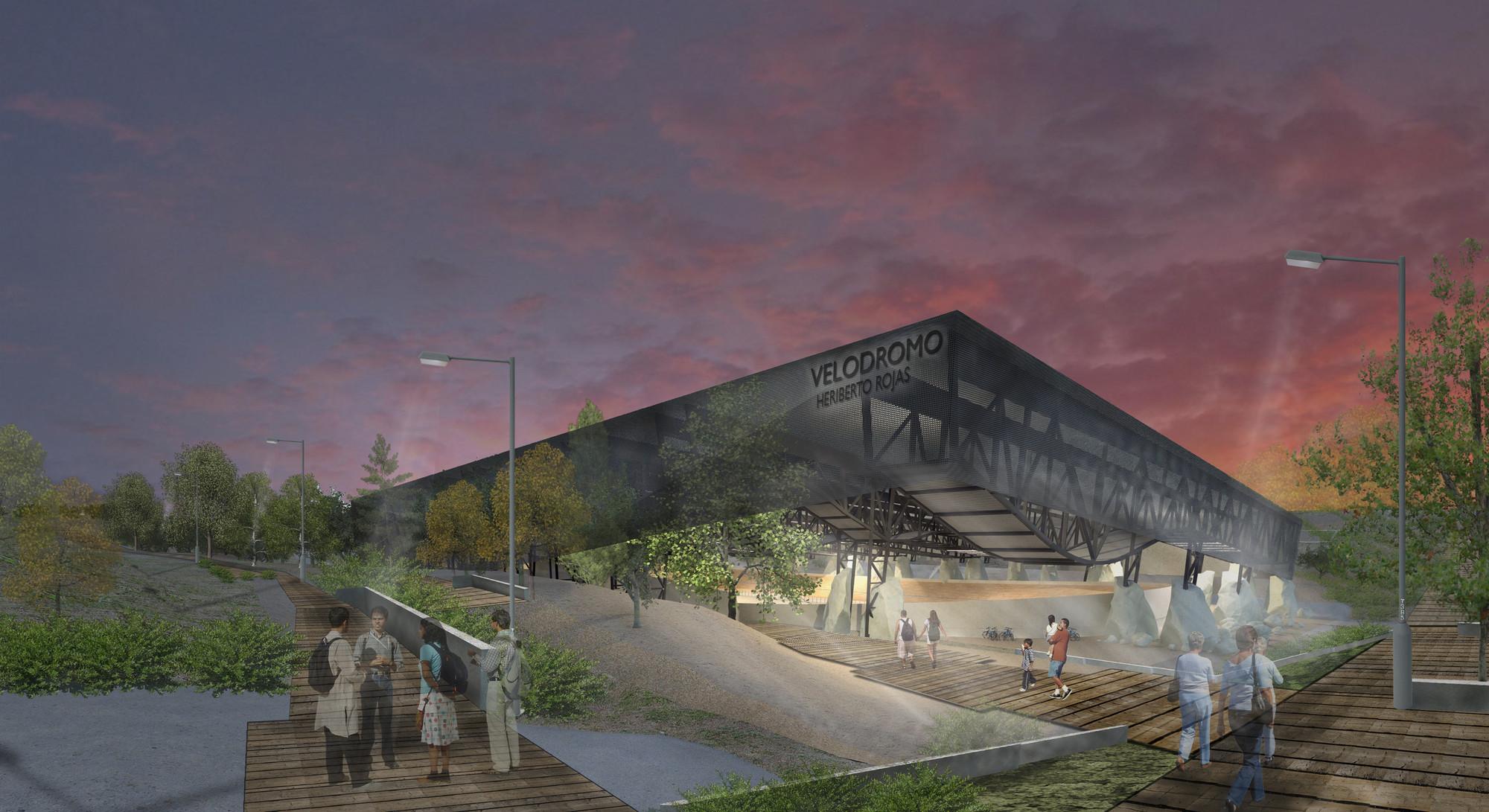 Primer Lugar en concurso de anteproyectos Parque Deportivo Villa Alemana / Chile, Velódromo. Image Courtesy of Equipo Primer Lugar