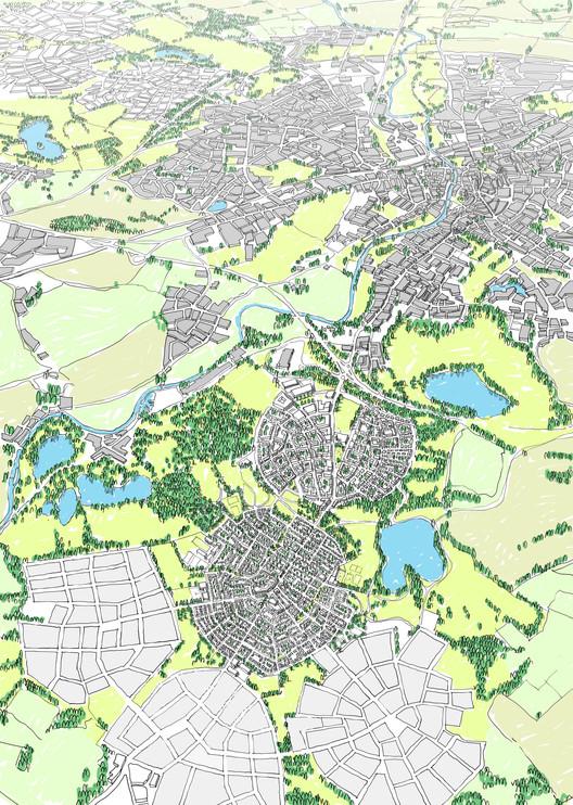 Richard Rogers habla en contra de las propuestas de ciudades jardín, La propuesta ganadora de URBED para el premio Wolfson de economía. Imágen cortesía de URBED
