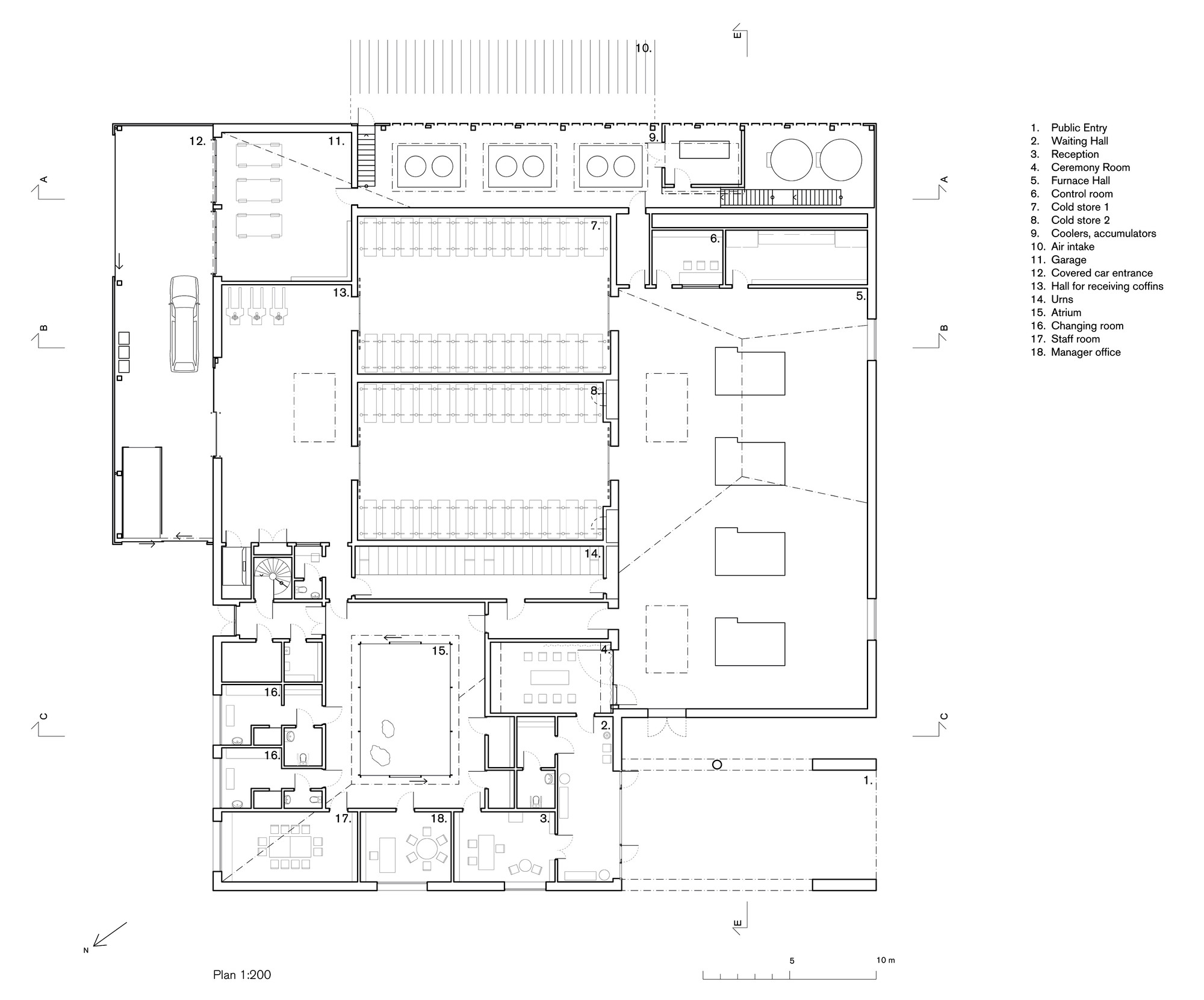 54124e3bc07a806c2300007f The New Crematorium The Woodland Cemetery Johan Celsing Arkitektkontor Floor Plan on Ada Public Restroom Floor Plans