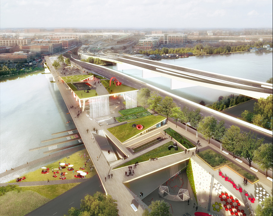 Conoce las cuatro propuestas del primer parque elevado de Washington, © OLIN / OMA