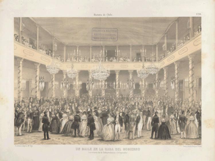""""""". Un baile en la casa de gobierno, aniversario de la independencia (18 de septiembre)"""" (1854). Image © Claudio Gay"""