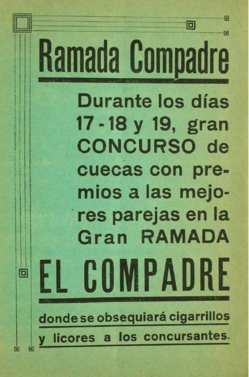 Inserto en programa oficial de las Fiestas Patrias de Temuco (1929). Image