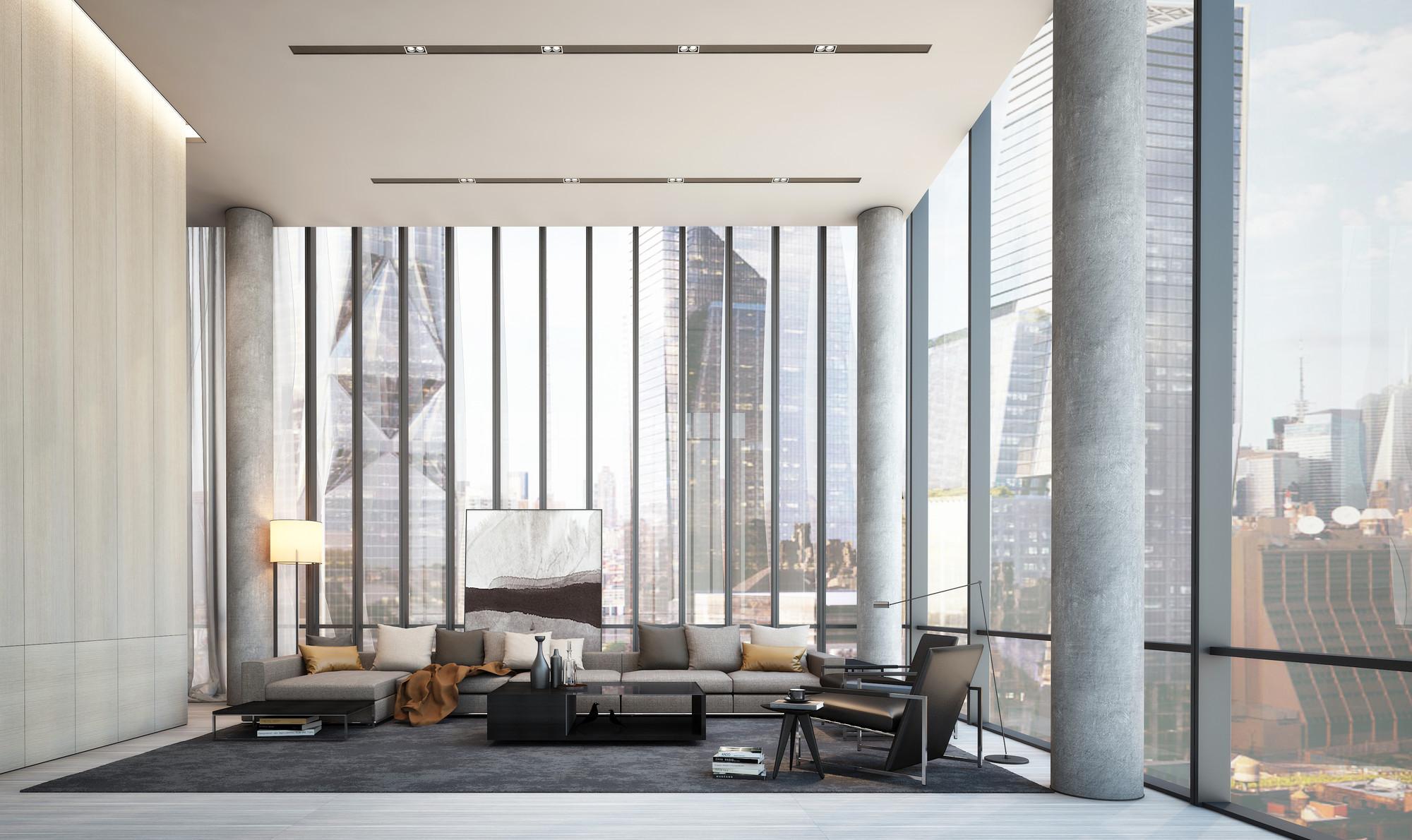 Sala de estar en décimo piso. Imagen cortesía de SCDA Architects