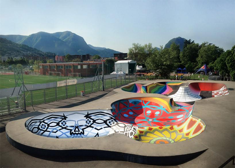 Intervención Urbana: Skatepark Sundial, una pista de skate convertida en reloj solar, Cortesía de Skatepark Sundial en Lugano, Suiza. Fuente: Zuk Club (Facebook)