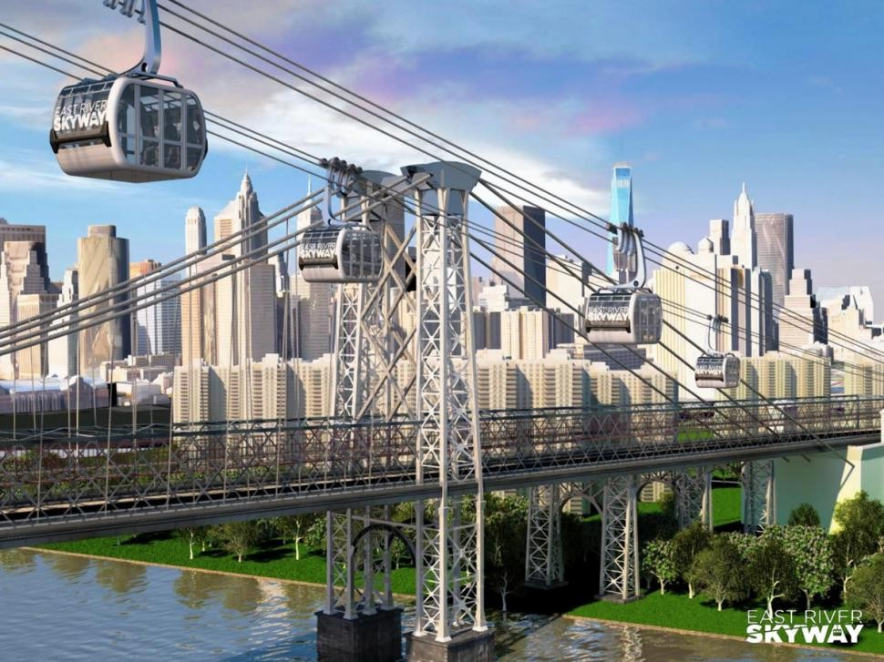 "High-Speed ""Skyway"" Aims to Shorten Commutes from Brooklyn to Manhattan, © East River Skyway via New York Daily News"