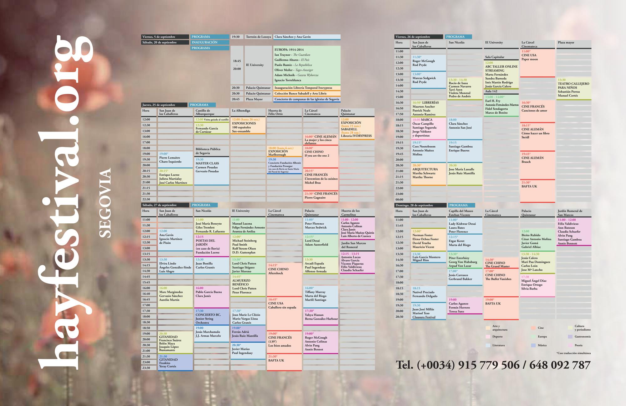 Programa. Image Cortesia de Hay Festival Segovia