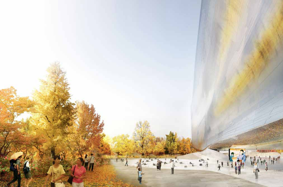 Jean Nouvel Releases Official Design for National Art Museum of China, To the East, a fusion of sky and gardens. Image © Ateliers Jean Nouvel