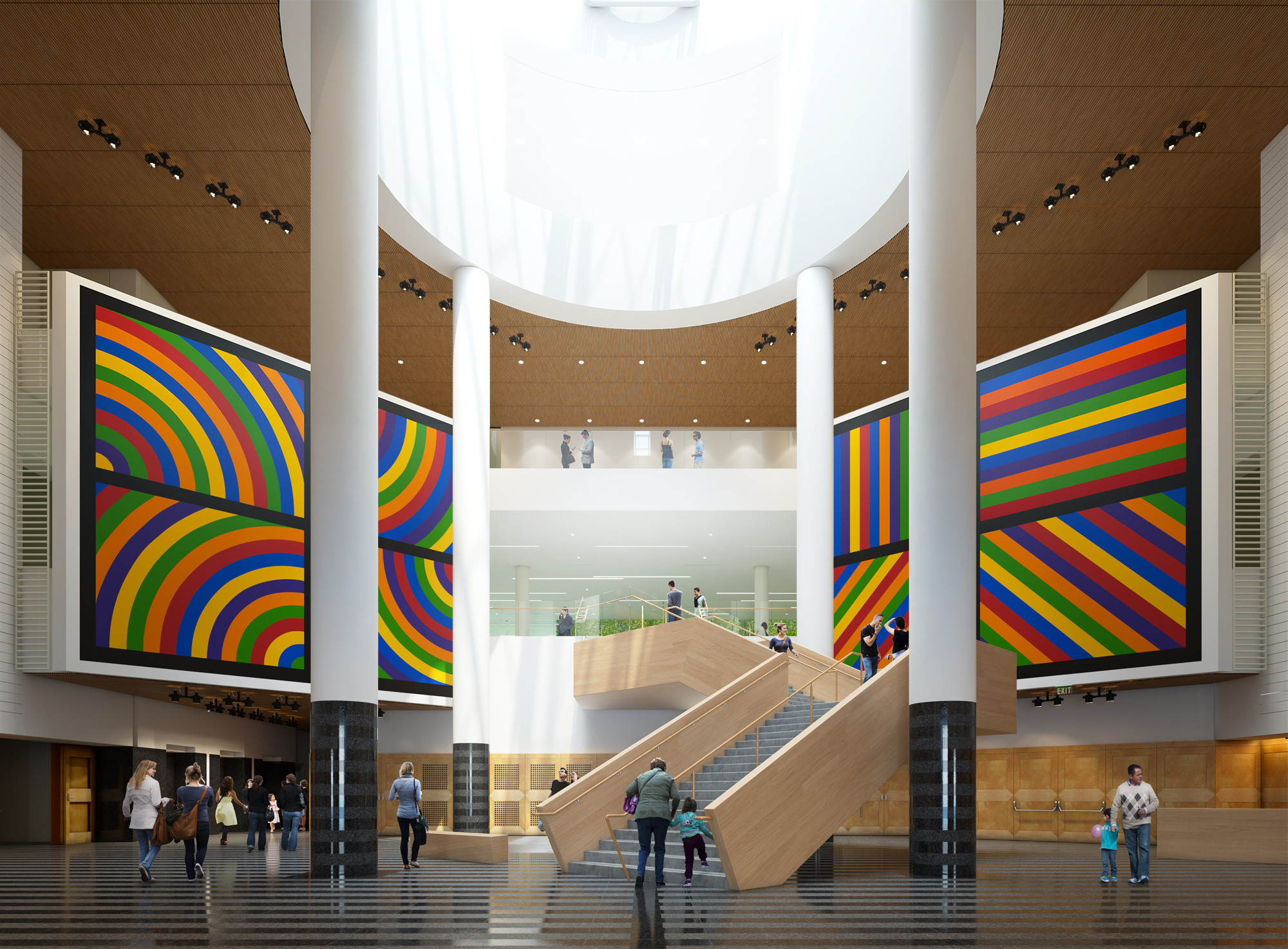 SFMOMA's new Snøhetta-designed stair (view from Third Street entrance) shown here with previous atrium art installation by Sol LeWitt (inaugural art installation for 2016 reopening to be announced); Rendering: Steelblue