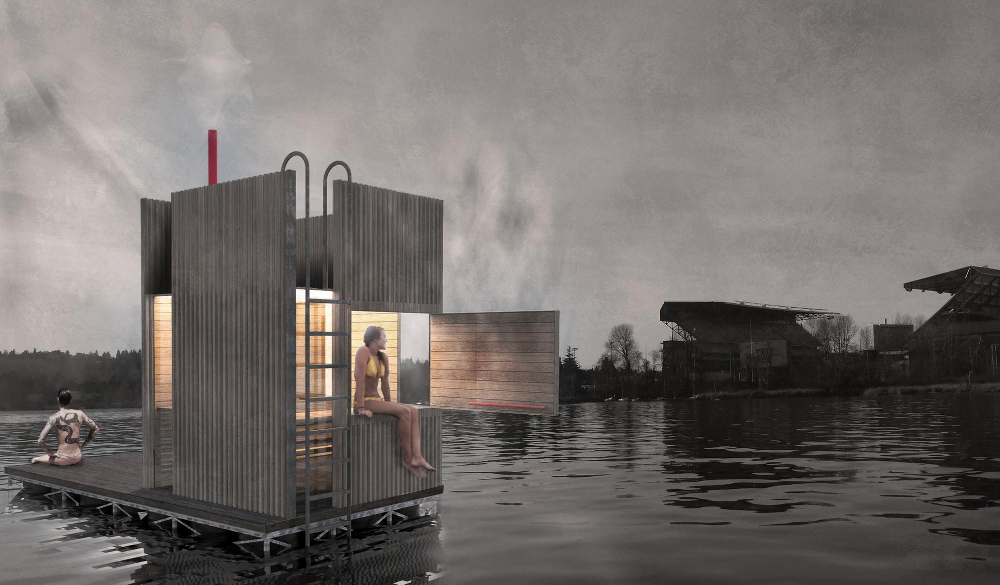 goCstudio Launches New Kickstarter to Fund Floating Sauna in Seattle, open hatch. Image Courtesy of goCstudio