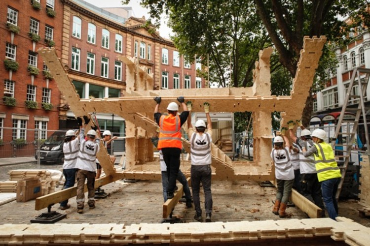 WikiHouse 4.0 during construction. Image Courtesy of The Building Centre