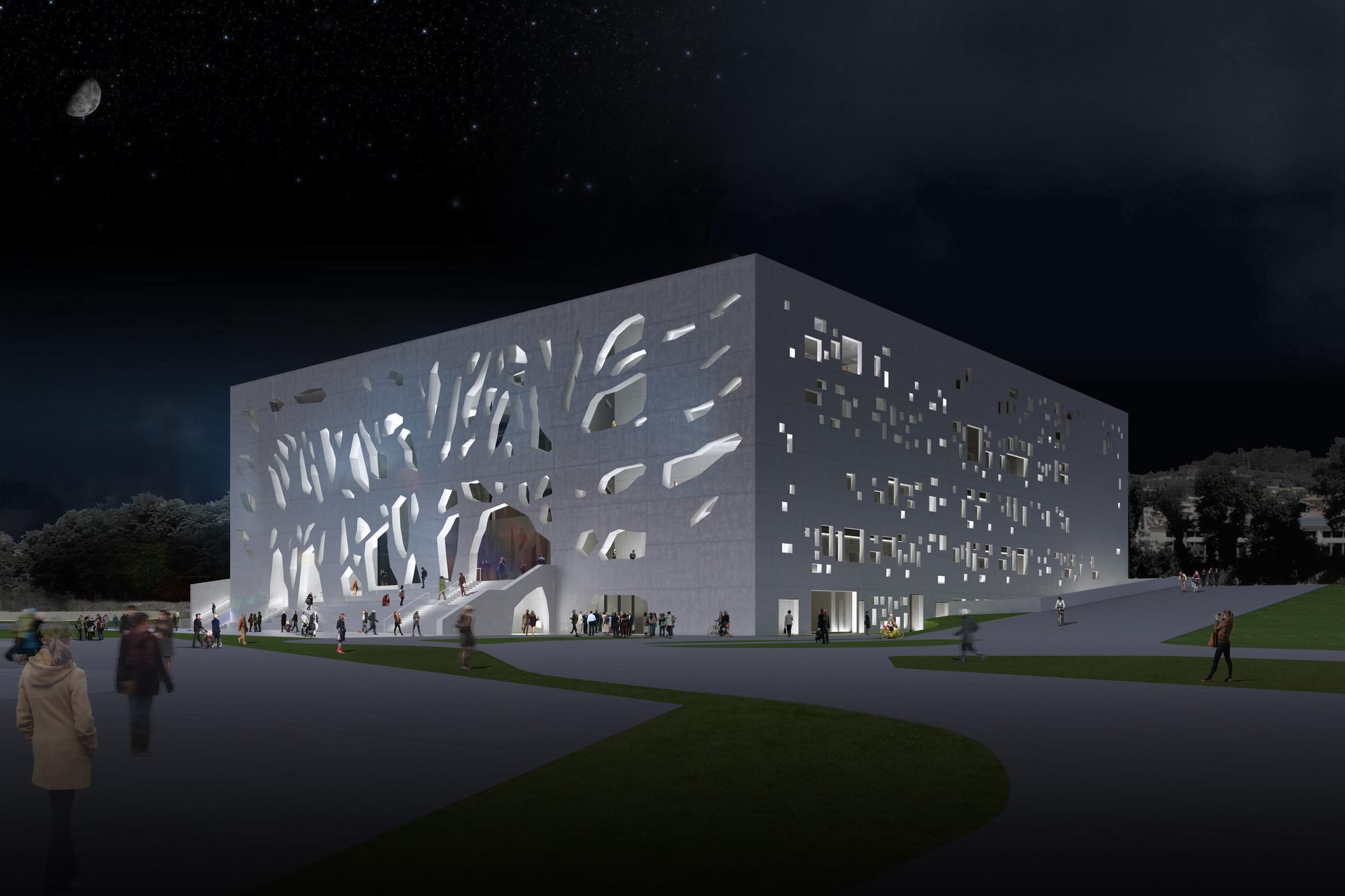 Sur-este (noche). Imágen © Bernard Tschumi Architects