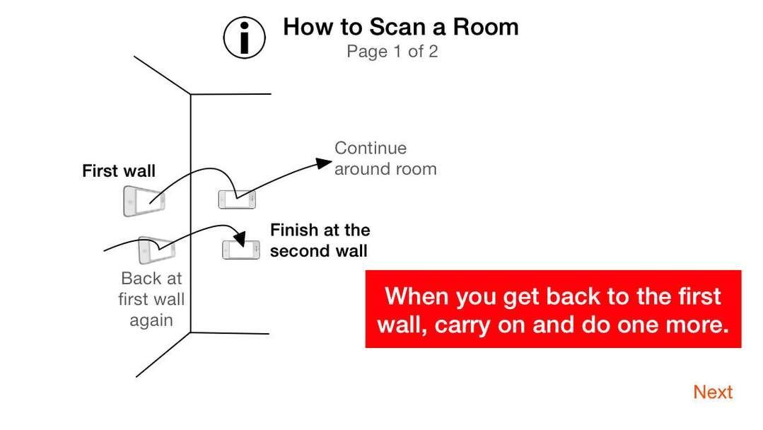 Como escanear una habitación. Imagen Cortesía de Locometric