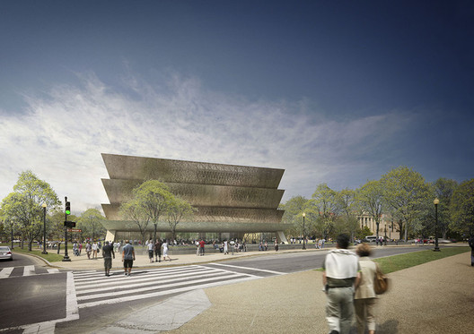 Smithsonian Institution's National Museum of African American History and Culture, Washington, D.C.. Image Courtesy of Adjaye Associates