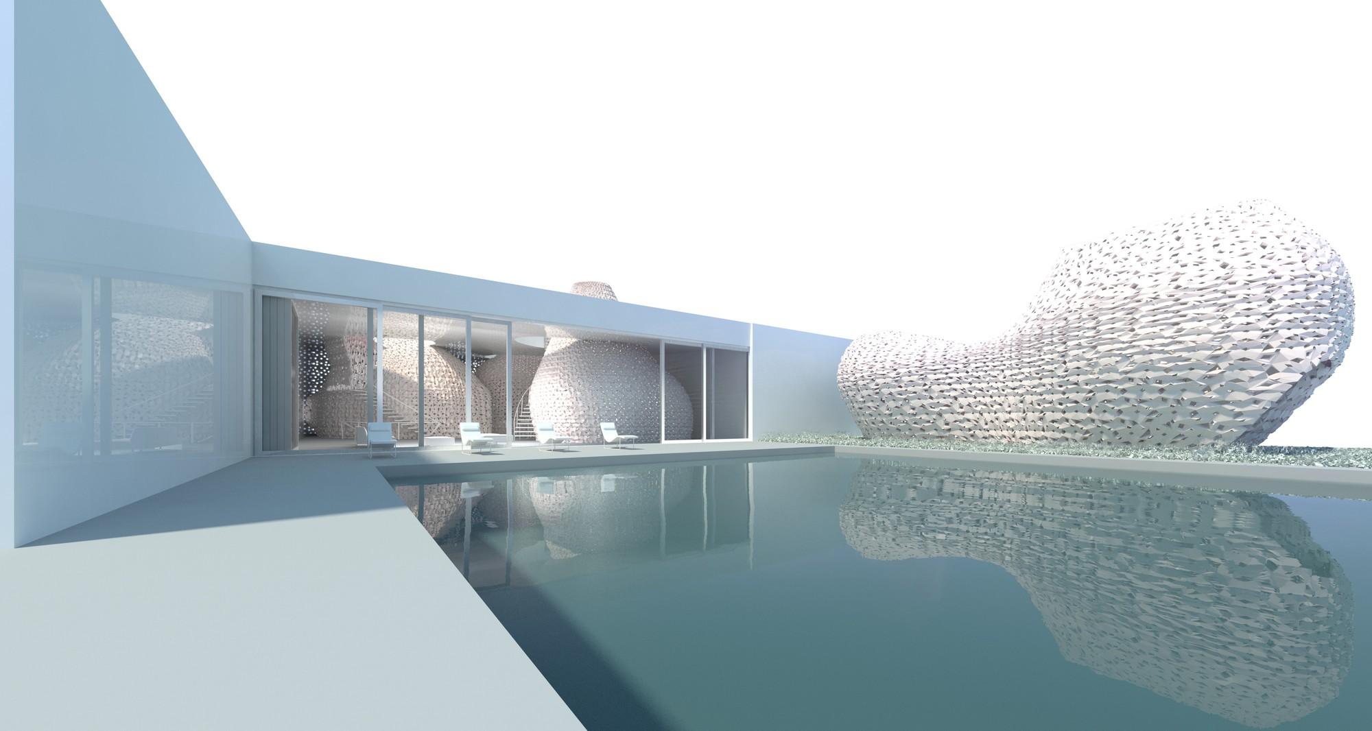 Piscina y cabaña impresa en 3D. Imagen © Emerging Objects
