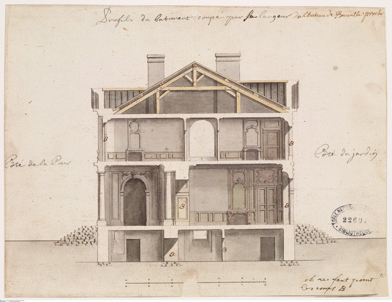 Anonymous. Country house near to Caen. Section of the main building. Pen, black ink and Indian wash, yellow-orange, pink and green water colour, 190 x 250 mm. Image © bpk – Bildagentur für Kunst, Kultur und Geschichte