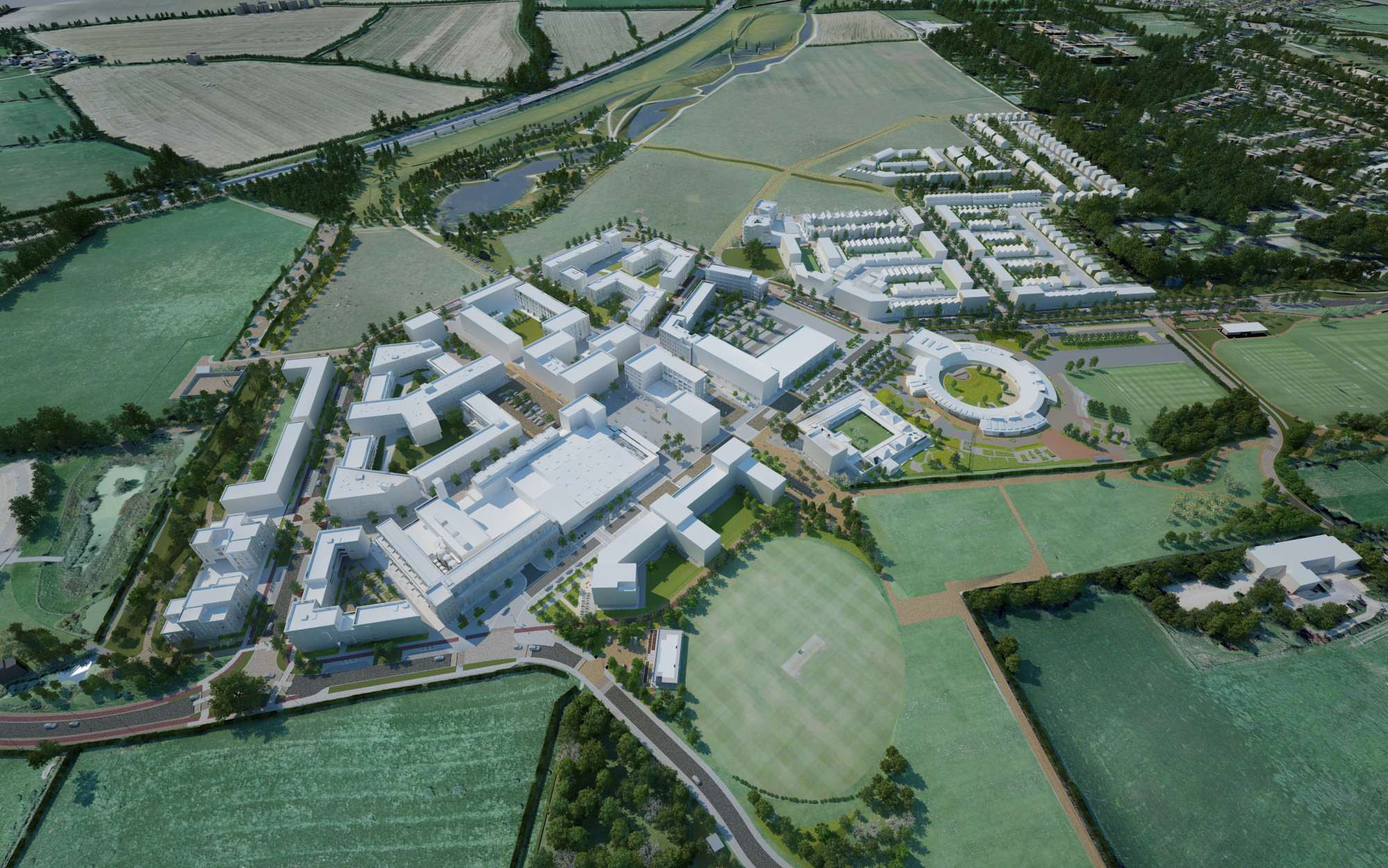 North West Cambridge Masterplan / AECOM Design & Planning. Imagen cortesía de WAF