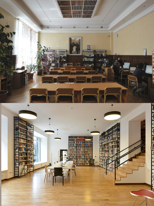 Dostoyevsky Library Before and After Renovation. Image © Frans Parthesius