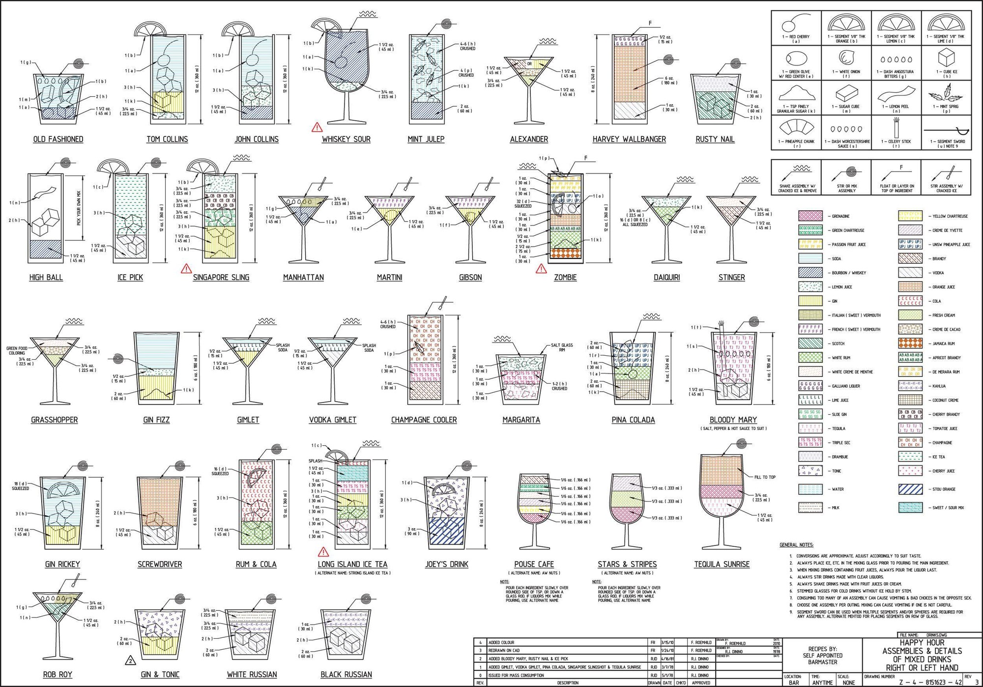 The Architecture of Happy Hour: Plotted, Not Stirred , CAD Drinks. Image Courtesy of Shaan Hurley