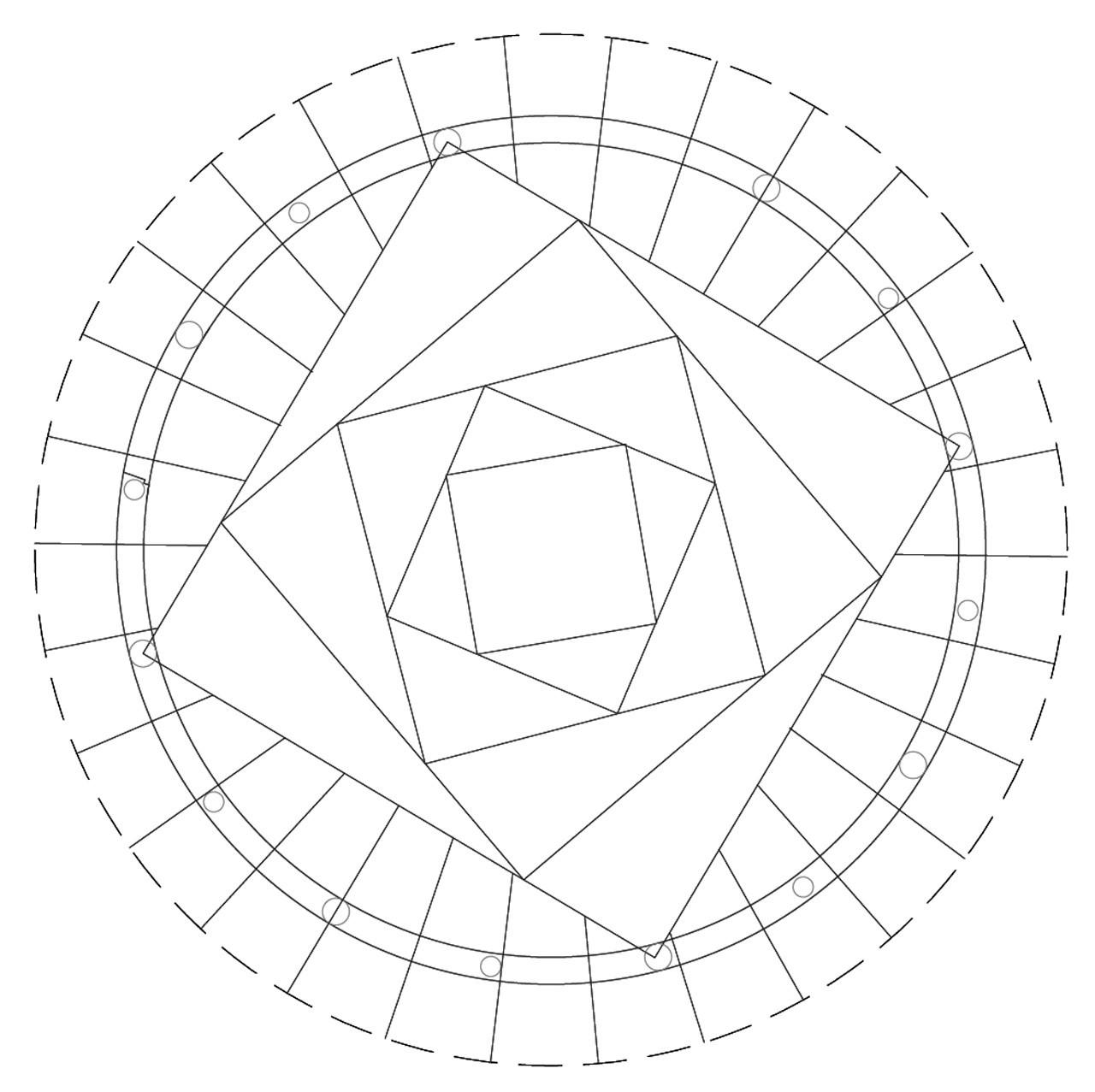 Fig. 2 Polígonos cuadrangulares regulares no-concéntricos, progresivamente reducidos, en rotación y reducción. Número de lados = 4; cantidad de polígonos = 5. Image Cortesia de Marco Aresta y Giulia Scialpi