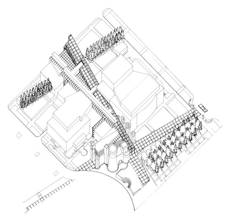 Dibujo de Axonométrica © Peter Eisenman
