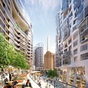 """Electric Boulevard with Foster + Partners' """"Battersea Roof Gardens"""" on the left and Gehry Partners' """"Prospect Place"""" on the right. Image Courtesy of Battersea Power Station"""