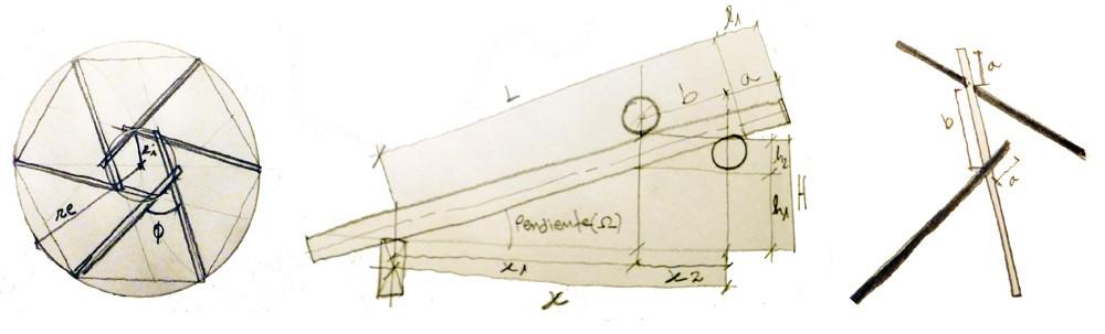 Fig. 8 Geometría de los elementos constitutivos de una estructura recíproca. Image Cortesia de Marco Aresta y Giulia Scialpi