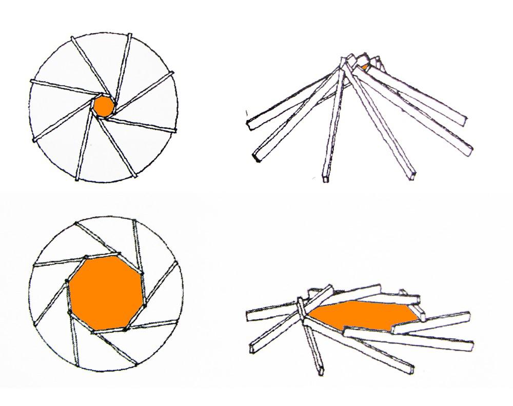 Fig. 9. Maquetas de estructuras reciprocas donde se puede ver la diferencia del ri (radio del circulo interior) y su influencia en la pendiente de la estructura. Image Cortesia de Marco Aresta y Giulia Scialpi