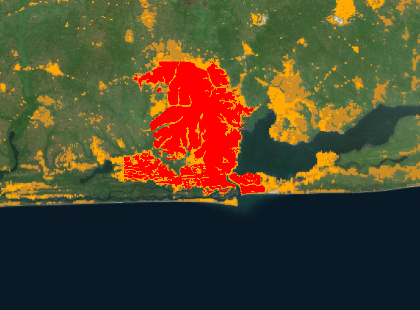 Lagos, Nigeria en la actualidad. Imagen via http://storymaps.esri.com/stories/2014/growth-of-cities/