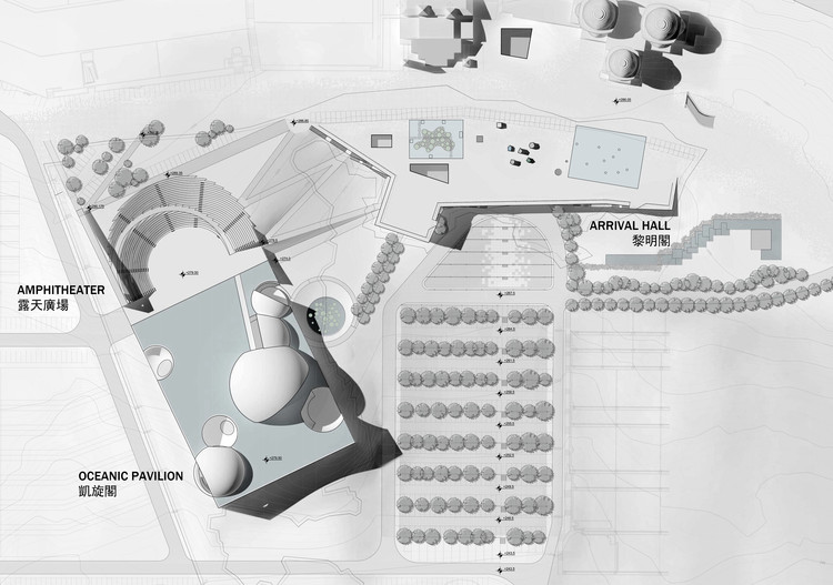 Oceanic Pavilion, Arrival Hall and Amphitheater master plan. Image © Steven Holl Architects
