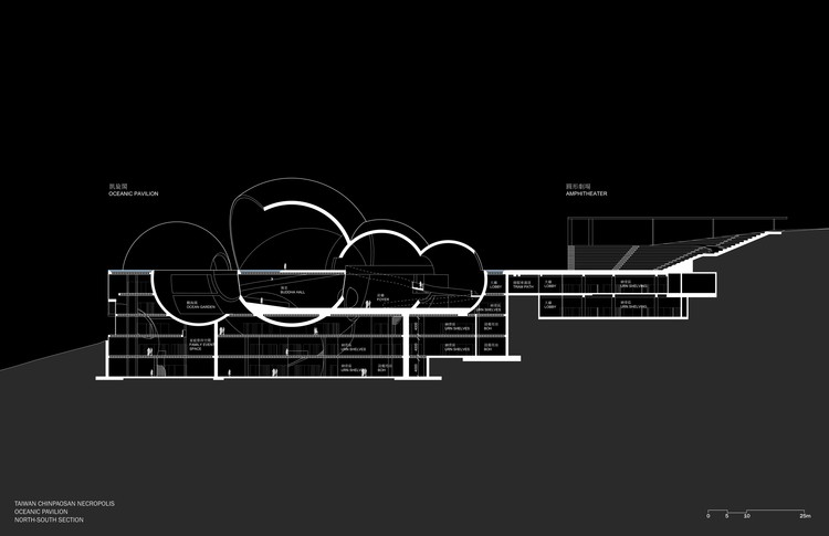 Oceanic Pavilion, section. Image © Steven Holl Architects