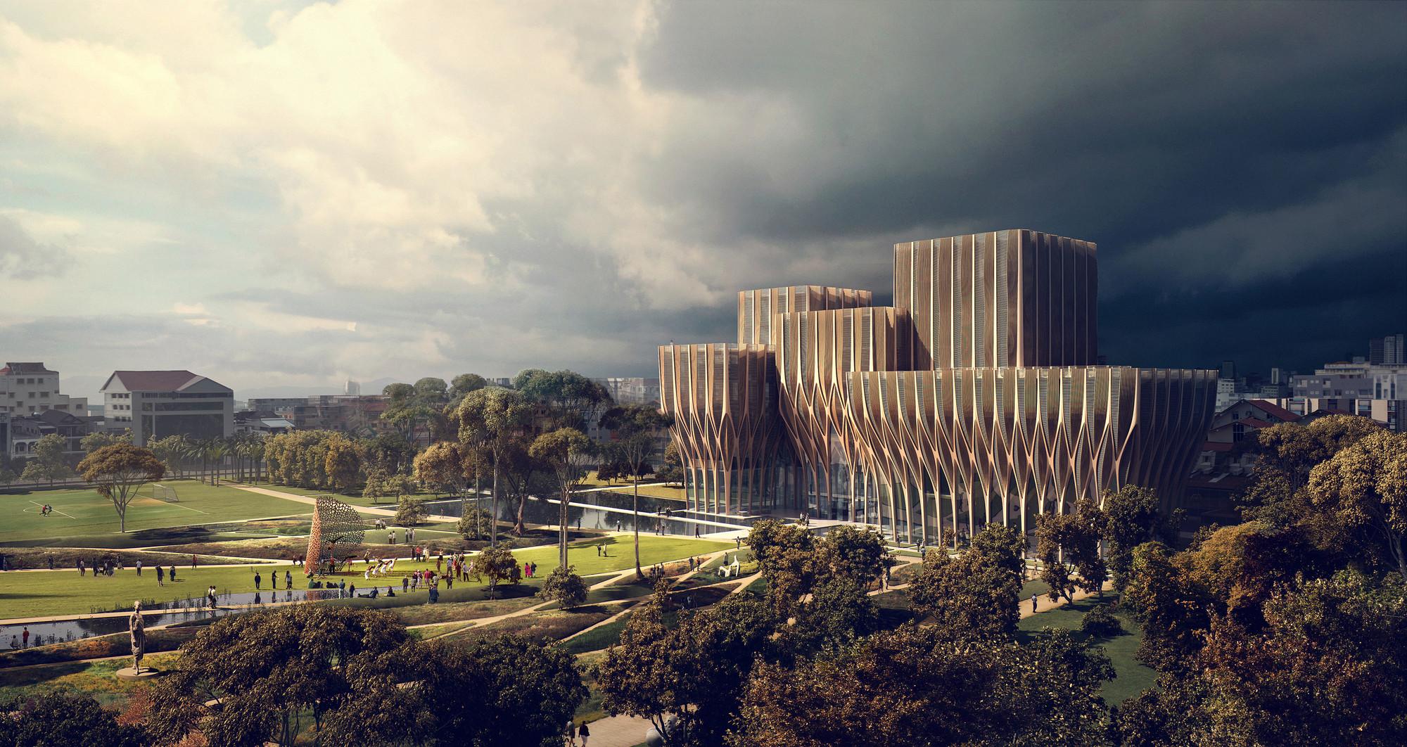 Zaha Hadid diseña cinco torres de madera para albergar el Instituto de Genocidio Camboyano, Fachada sur y parque memorial. Imagen cortesía de ZHA