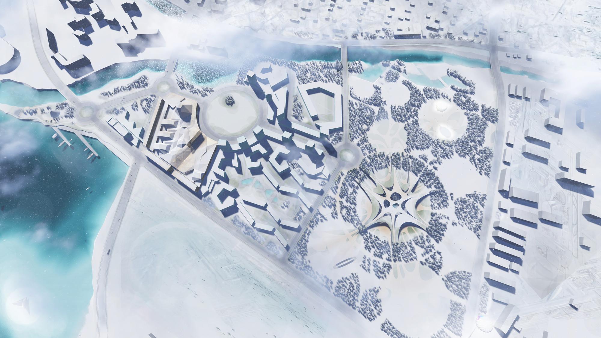 Vista general en invierno. Image Cortesia de Rubio Arquitectura