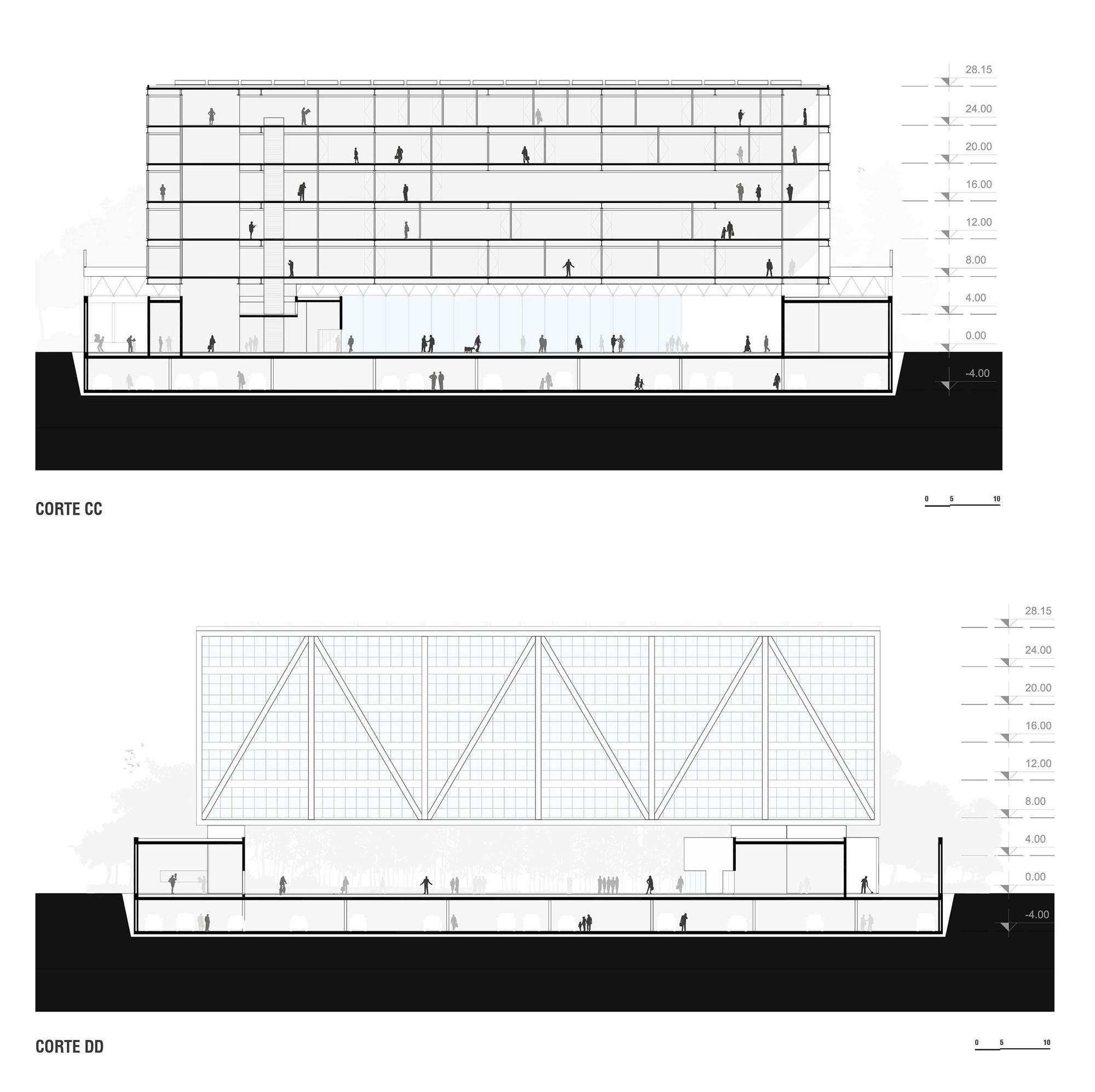 Cortes. Image Cortesia de OSPA Arquitetura e Urbanismo