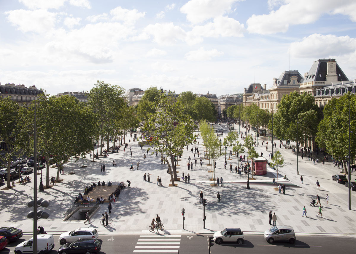 Place de la République, a favorite hub for protesters in Paris, reopened after a three-year redesign process. Image © Clement Guillaume