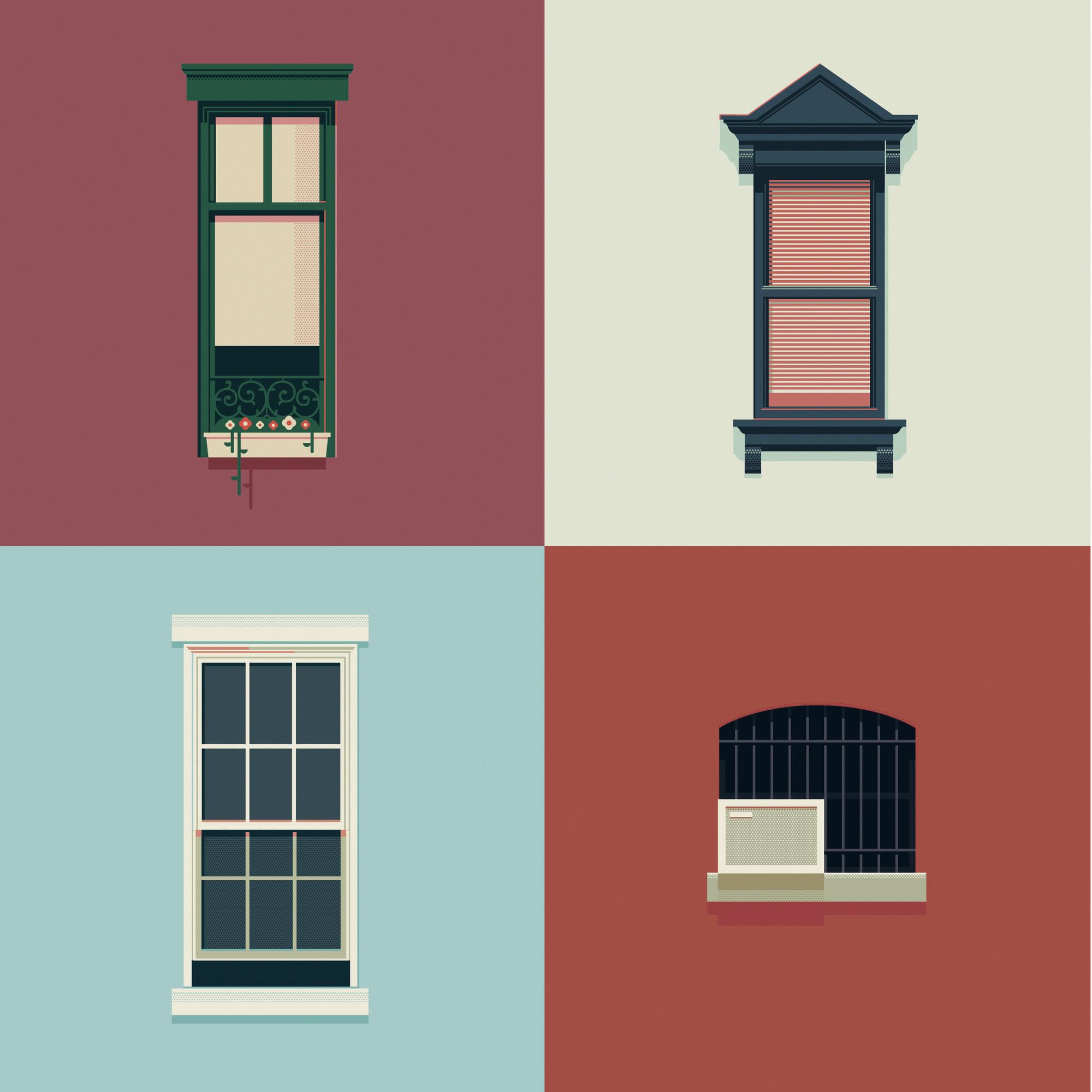Ciudad de NY por el diseñador gráfico José Guizar, quien captura la ecléctica gama de ventanas a través de ilustraciones semanales. Imagen cortesía de José Guizar