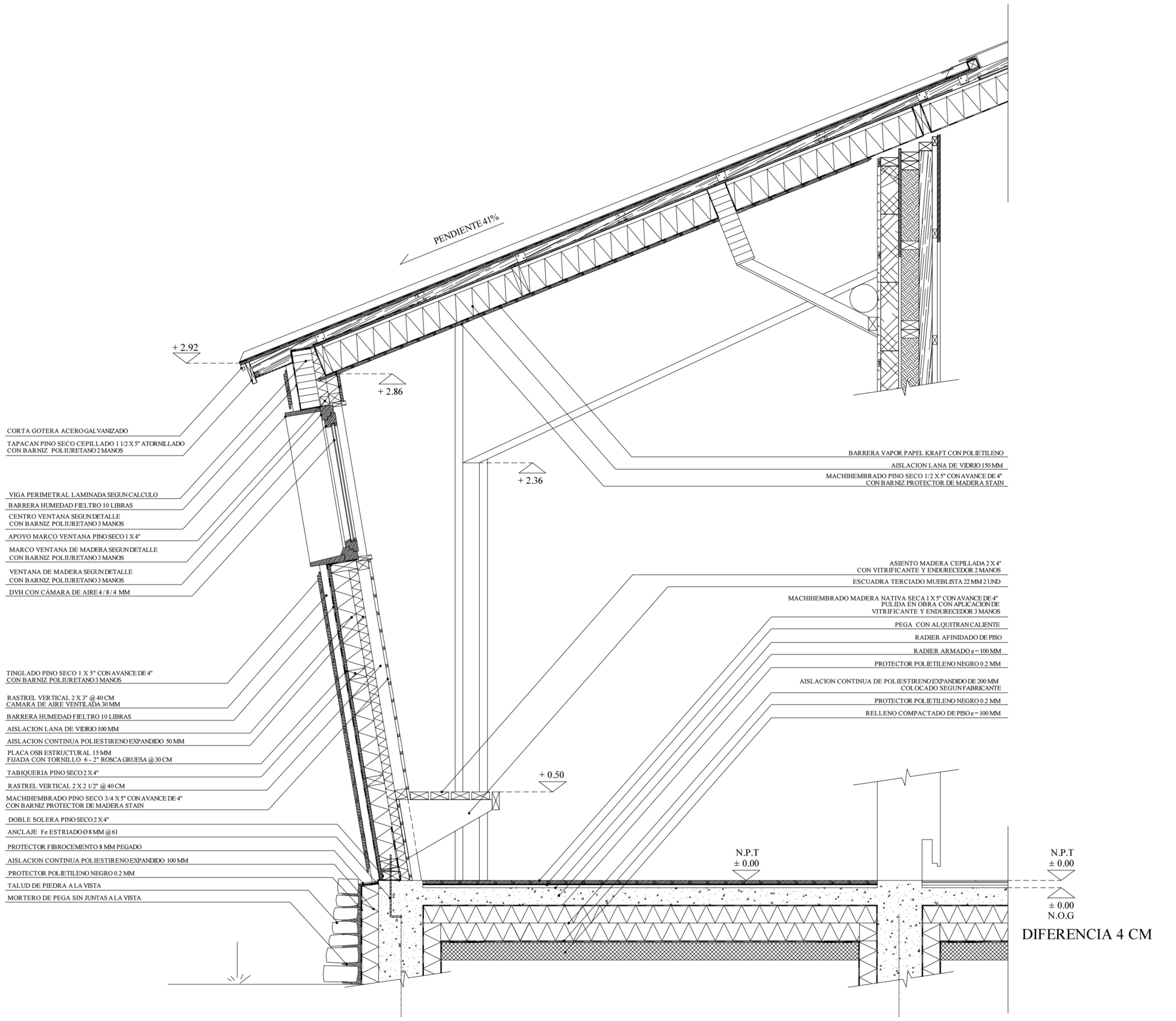 Galer a de en detalle madera paja y adobe centro hol stico punto zero 41 - Detalle constructivo techo ...