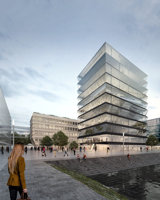 "MVRDV Selected to Design ""Hafenspitze"" Office Towers in Mainz, © MVRDV"
